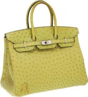 Hermes 35cm Vert Anis Ostrich Birkin Bag With Pa