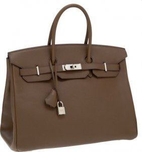 56012: Hermes 35cm Toundra Epsom Leather Birkin Bag wit