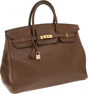 56013: Hermes 40cm Olive Barenia Leather Birkin Bag wit