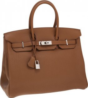 56015: Hermes 35cm Alezan Togo Leather Birkin Bag with