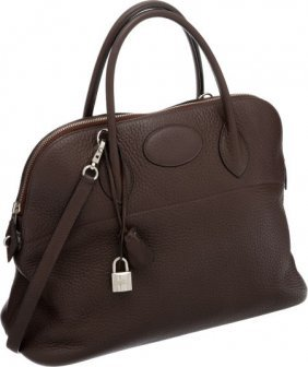 56016: Hermes 37cm Café Clemence Leather Bolide Bag wit