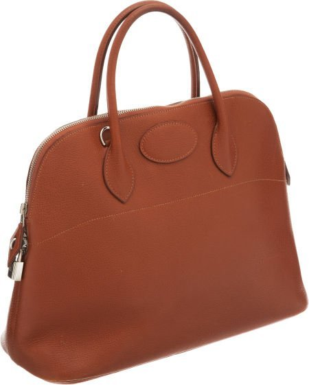 56017: Hermes 37cm Noisette Vache Liegee Leather Bolide