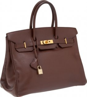 56020: Hermes 35cm Chocolate Courchevel Leather Birkin