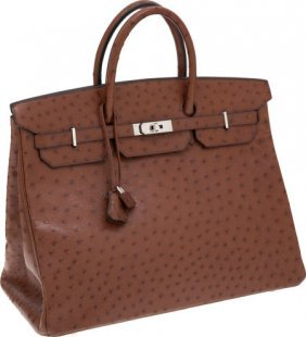 56021: Hermes 40cm Noisette Ostrich Birkin Bag with Pal