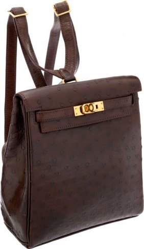 56022: Hermes 20cm Marron Fonce Ostrich Kelly Ado Backp