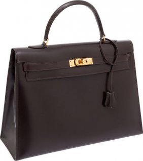 56025: Hermes 35cm Ebene Calf Box Leather Sellier Kelly