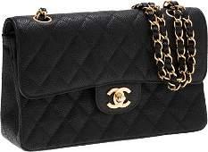 56232: Chanel Black Caviar Leather Small Double Flap Ba