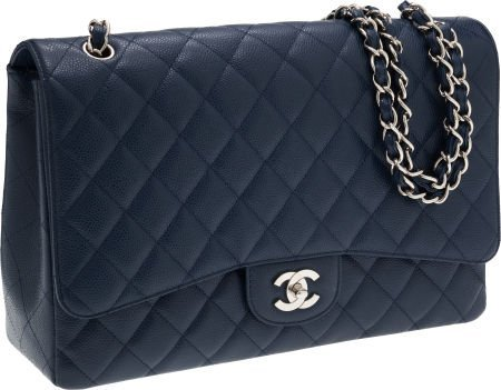 56274: Chanel Navy Caviar Leather Maxi Single Flap Bag