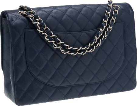 56274: Chanel Navy Caviar Leather Maxi Single Flap Bag  - 2