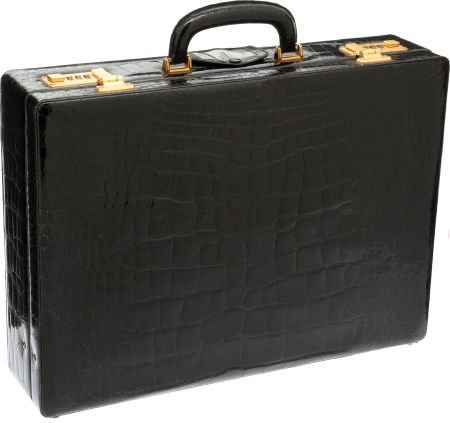 56484: Asprey Black Alligator Briefcase