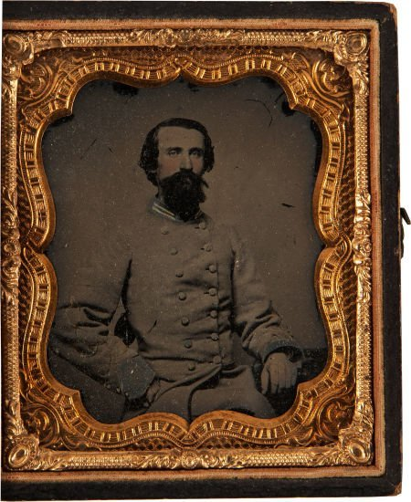 52002: Great Sixth Plate Confederate Ambrotype Of Dr. W