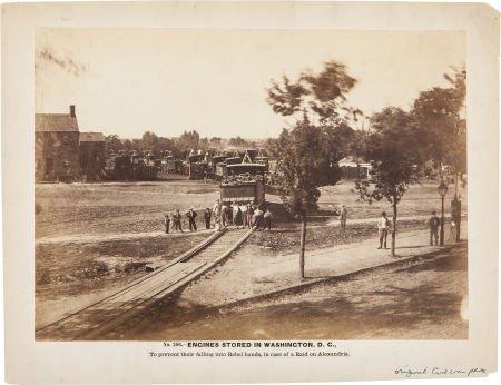 """52019: Large Civil War Albumen View of """"No. 300 - Engin"""