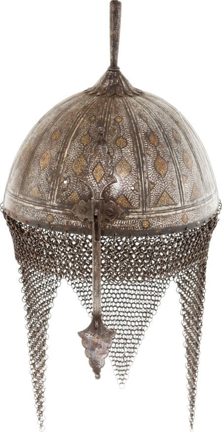 32008: Scarce Silver & Gold Inlaid Indo-Persian Helmet.