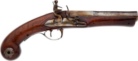 32015: Unmarked Continental Flintlock Blunderbuss Pisto