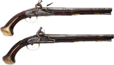 32016: Pair of Unmarked Continental Flintlock Pistols.