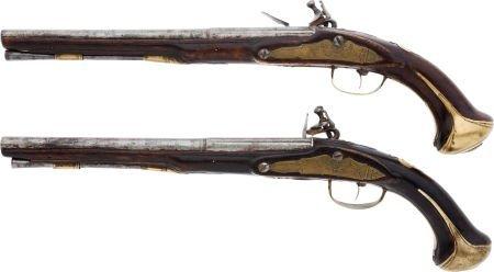 32016: Pair of Unmarked Continental Flintlock Pistols.  - 2