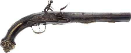 32022: Unmarked Ornate Continental Flintlock Pistol, Ci
