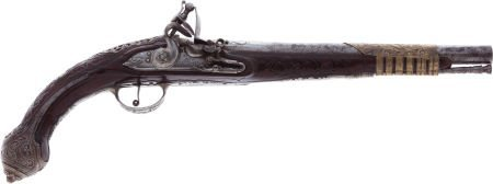 32023: Ornate Italian Flintlock Pistol by Rossi, Circa