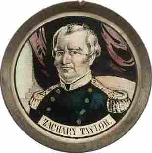 38061: Zachary Taylor: Pewter Rim Mirror.