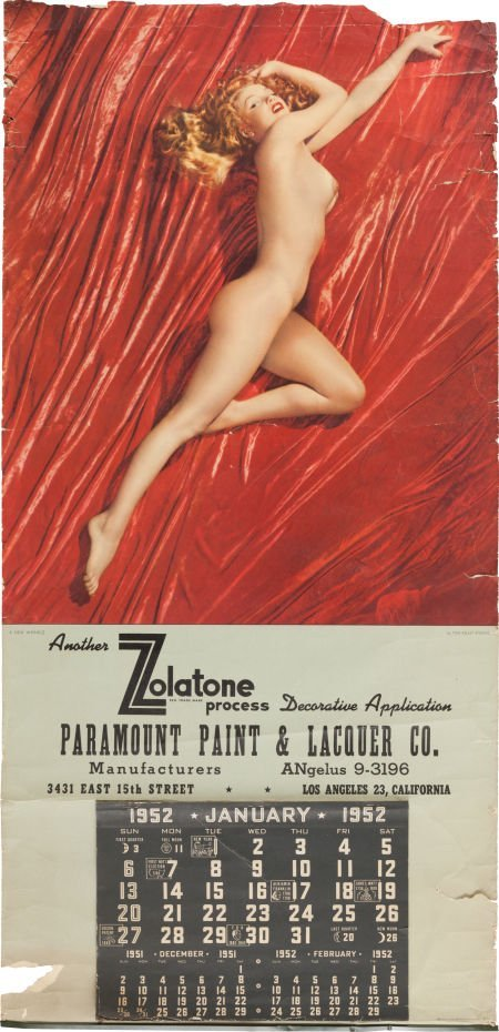 46001: A Marilyn Monroe Rare Signed Nude Calendar, Circ