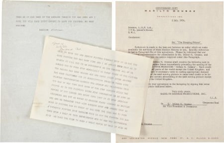 """46006: A Marilyn Monroe Set of Documents Related to """"Th"""