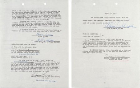 46014: An Orson Welles and Rita Hayworth Signed Contrac