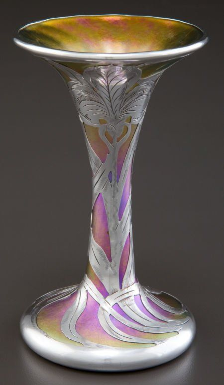 A QUEZAL GLASS VASE WITH ALVIN SILVER OVERLAY C