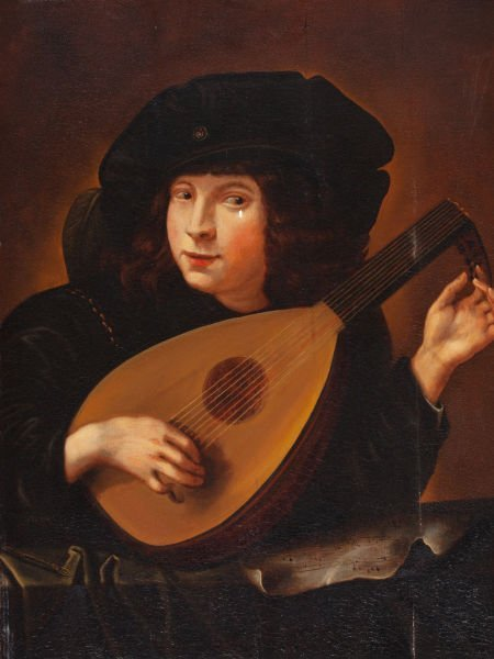 86015: FRENCH SCHOOL (19th Century) Lute Player Oil on