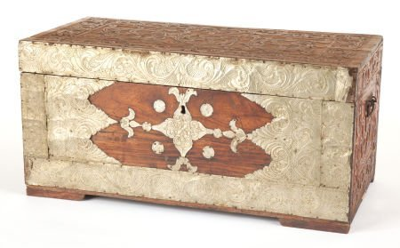88011: A KOREAN ELM BLANKET CHEST WITH ENGRAVED BRASSWO