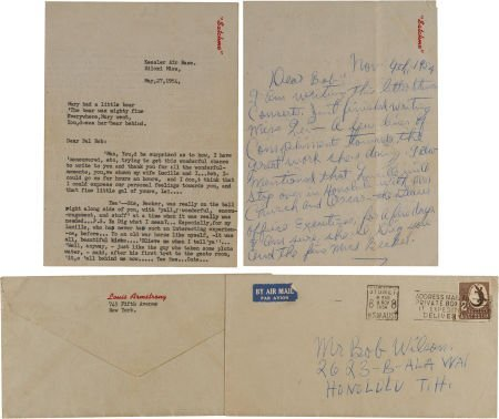 46105: A Louis Armstrong Set of Signed Letters, 1954.