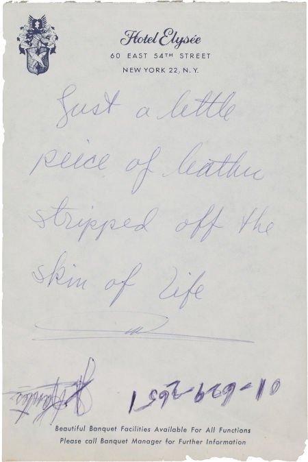 46017: A Marlon Brando Handwritten Note, Circa 1950s.