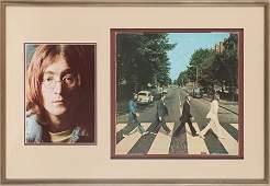 46179: Beatles John Lennon Signed Abbey Road Cover Disp