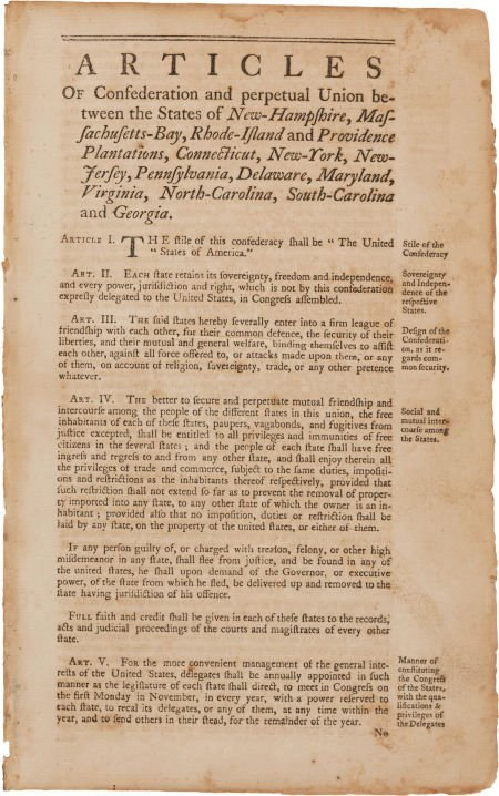 36001: [Americana]. Articles of Confederation and perpe