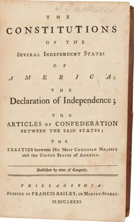 36002: [Americana]. The Constitutions of the Several In