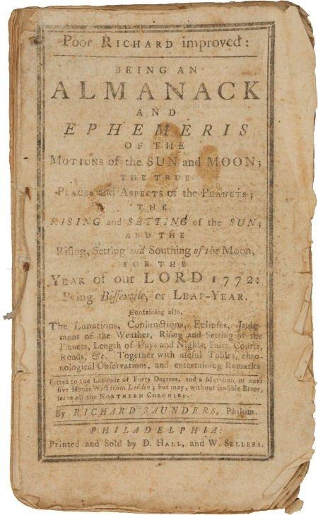 36010: [Benjamin Franklin]. Richard Saunders. Poor Rich