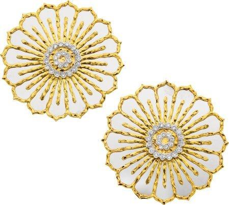 58002: Diamond, White Gold, Gold Pendant-Brooches, Chau