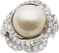 58261 South Sea Cultured Pearl Diamond Platinum Ring