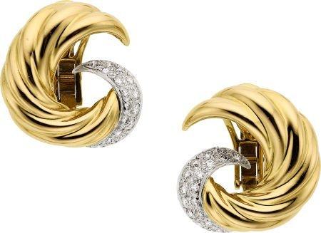 58004: Diamond, Platinum, Gold Earrings, Verdura