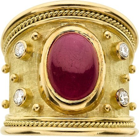 58012: Ruby, Diamond, Gold Ring, Elizabeth Gage