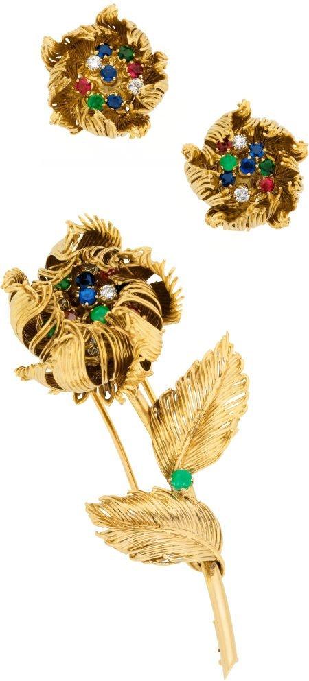 58014: Multi-Stone, Diamond, Gold Jewelry Suite, Cartie