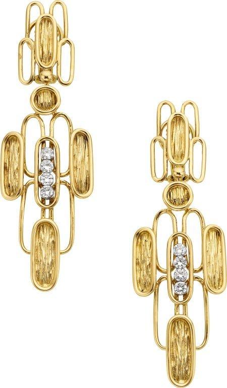 58017: Diamond, Gold Earrings