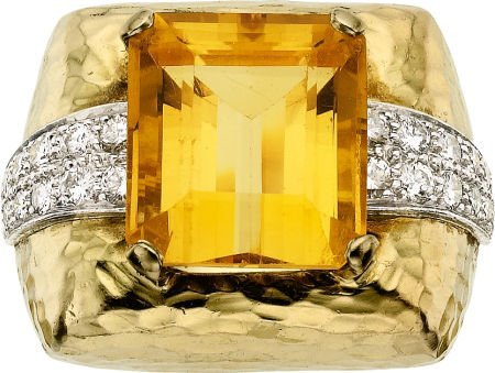 58019: Citrine, Diamond, Platinum, Gold Ring, David Web