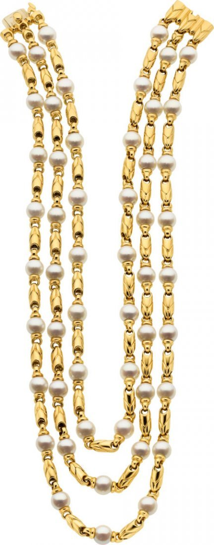 58022: Cultured Pearl, Gold Necklace, Bvlgari