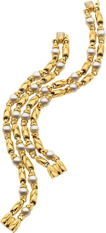 58023: Cultured Pearl, Gold Bracelets, Bvlgari