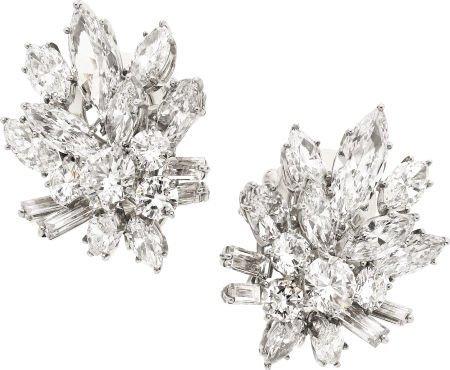 58283: Diamond, Platinum, White Gold Earrings, Van Clee