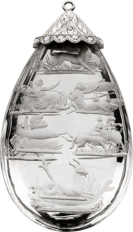 58123: Art Deco Rock Crystal Quartz, Diamond, Platinum
