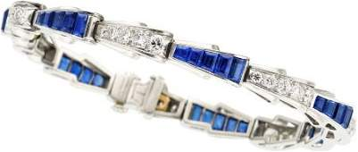 58151 Art Deco Sapphire Diamond Platinum Bracelet T