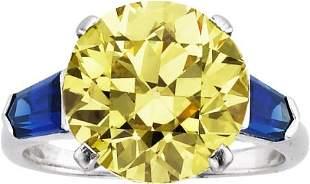 58152: Art Deco Fancy Intense Yellow Diamond, Sapphire,