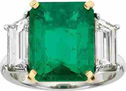 58429: Emerald, Diamond, Platinum Gold, Ring, Piranesi