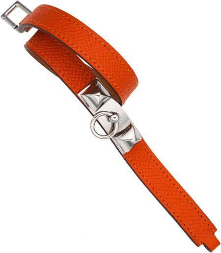 56001: Hermes Orange H Epsom Leather Rivale Bracelet wi